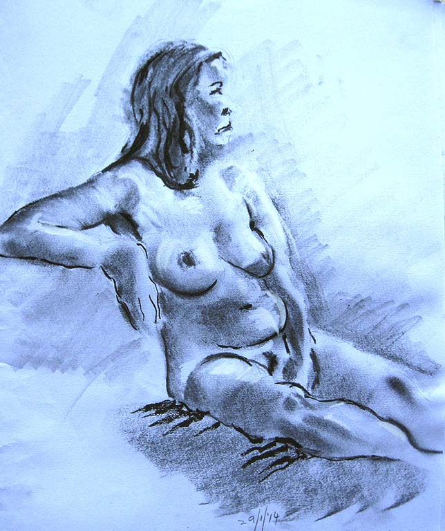 life drawing class for beginners, ormskirk, lancashire, liverpool. Study done in charcoal, directly from the model