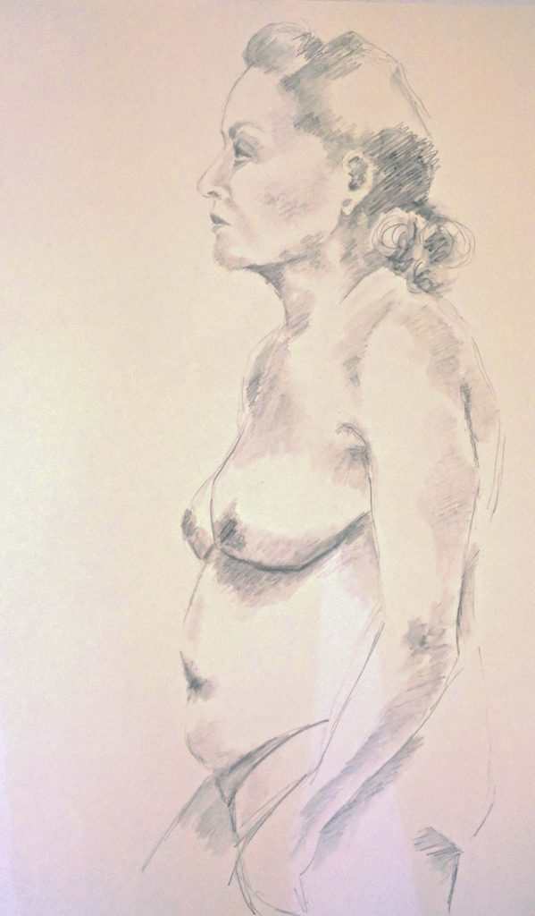 life drawing class, near me, lydiate, liverpool, merseyside, southport. This study done directly from the female nude model at lydiate in the beginners class