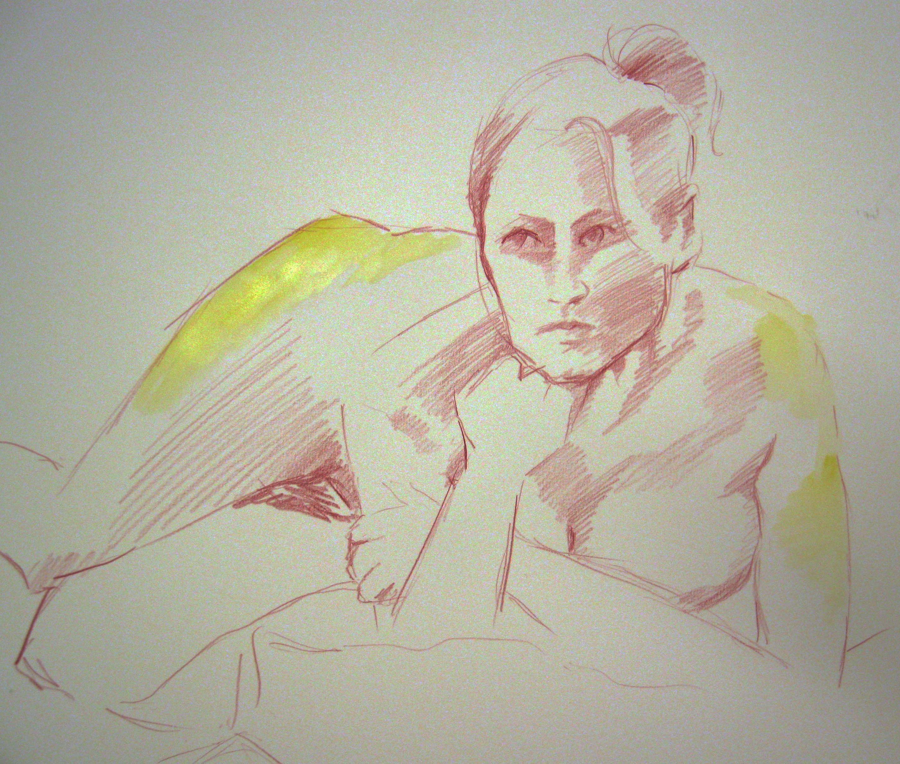 life drawing class, near me, merseyside, southport. Study of a female figure done in the life class, using coloured pencils