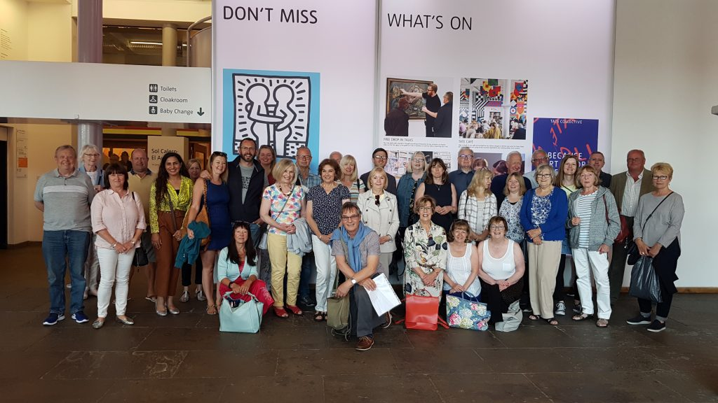 life drawing class members on visit to the keith haring exhibition, tate, liverpool, merseyside,beginners course