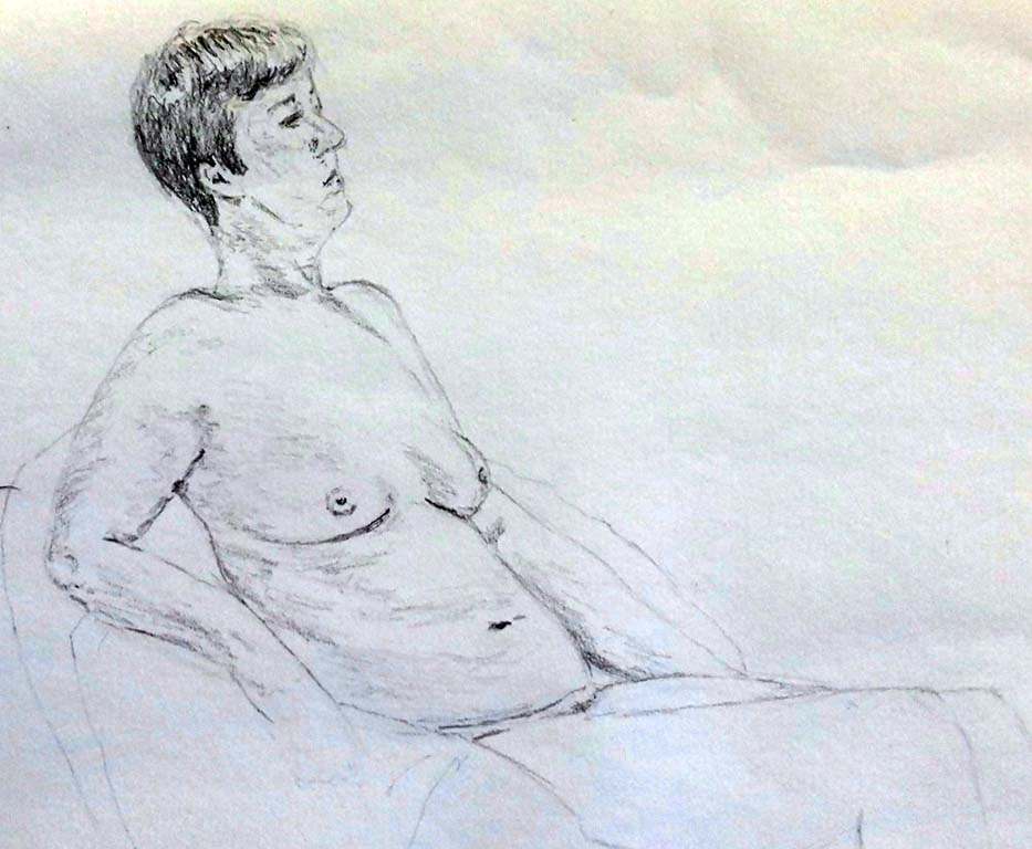 This life study was done by a beginner, after 3 visits to the life class, liverpool, merseyside
