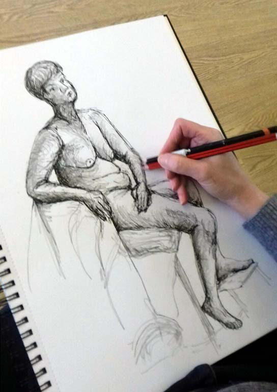 a drawing done in the life class, for beginners, liverpool, southport, formby, on merseyside