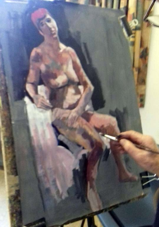 an acrylic painting done in the life drawing class at lydiate, liverpool, merseyside and southport