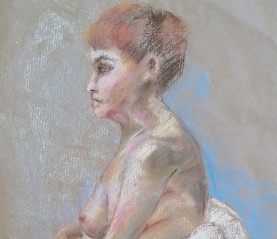 pastel drawing done in the life drawing class, lydiate, liverpool, merseyside